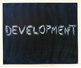 word development on a chalk board image