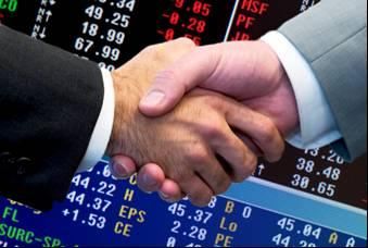 hand shake with stock quotes depicts stock broker image