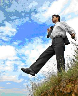 managing risk, man walking off a cliff