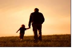 man and child walking